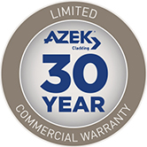 "A blue and grey seal that reads,""Fade & Stain 30 Year Limited Commercial Warranty."""