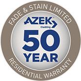 "A blue and grey seal that reads,""Fade & Stain 50 Year Limited Residential Warranty."""